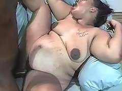 Black preggo gets cumload on paunch