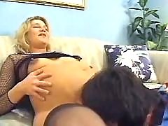 Pregnant blonde licked by horny man