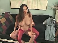 Asian pregnant babe jumps on dick