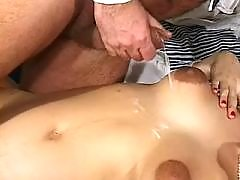 Pregnant chick gets cumload on tits